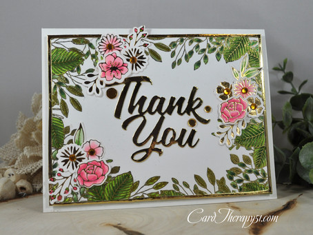 Leafy Thank You with Floral Accents