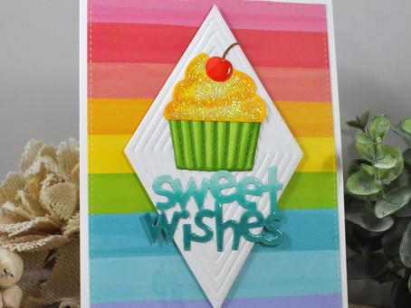 Diamond Background Sweet Wishes Cupcake