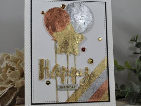 Gilded Flakes Happy Birthday Balloons