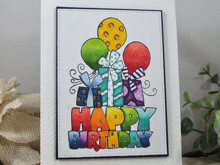 Rainbow Chunky Birthday Presents and Balloons