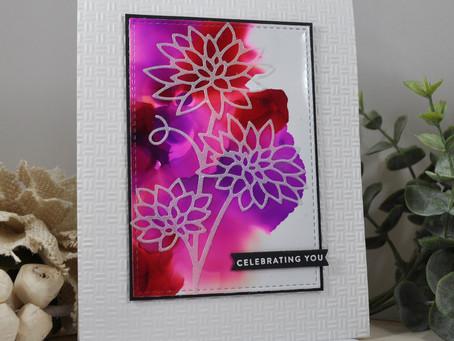 Alcohol Ink Vellum Overlay Blooming Chrysanthemum Celebrate You