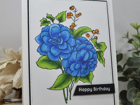 Blue Camellias Happy Birthday