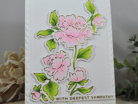 Foiled Peonies With Deepest Sympathy