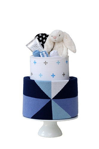 Two Tier Nappy Cake Blue