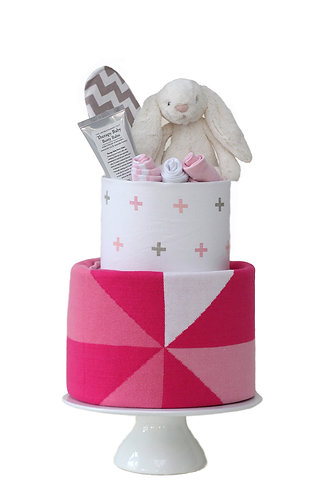 Two Tier Nappy Cake Pink