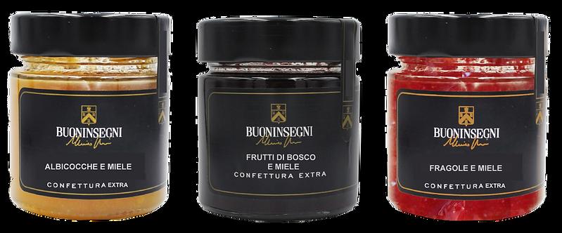 CONF. 3 VASETTI CONFETTURA GUSTI MISTI (Pack of three jam jars mixed flavors)