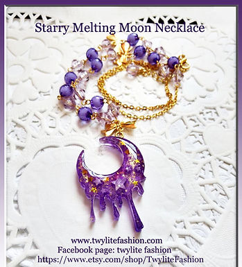Starry Melting Moon Necklace