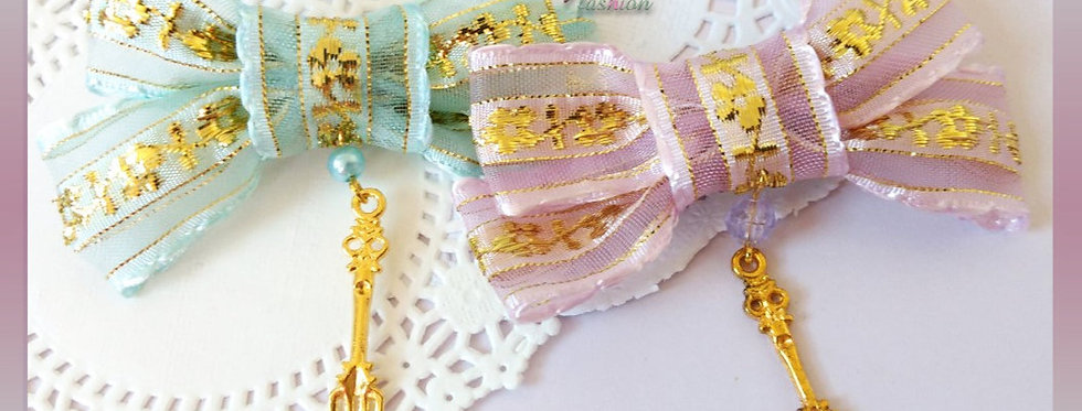 Gold Lace Hair Bows