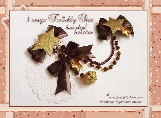 3 ways Twinkly Star hair clip/brooches - Christmas Accessories - Sweet Lolita