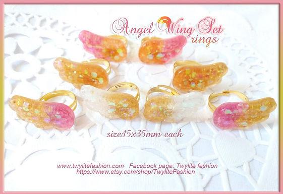 Pastel Kawaii Angel Wing Set (Hair clips and Rings)