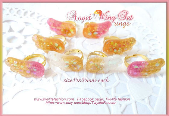 Pastel Kawaii Angel Wing Set (Hair clips and Rings)