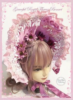 Graceful Royal Flower Bonnet- purple