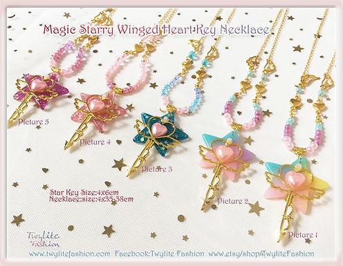 Magic Starry Winged Heart Key NecklaceSweet Lolita/Kawaii/Fairykei/