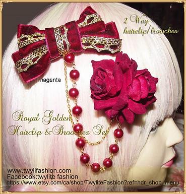 Royal Golden 2 Way Hair Clip & Brooch Set