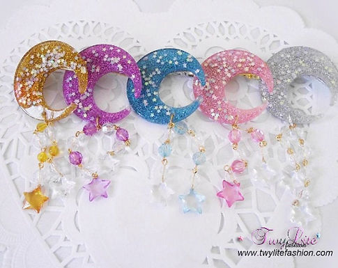 Glittering Moon & Star Dangle Hair clips
