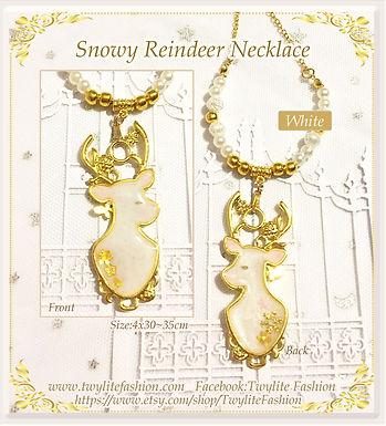 Snowy Reindeer Necklace