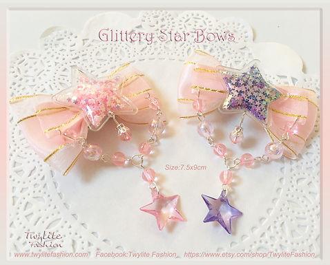 Glittery Star Bows - Sweet Lolita/Fairykei/Decora/Harajuku/Kawaii