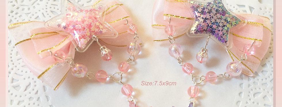 Glittery Star Bows - Sweet Lolita/Fairykei/Decora/Harajuku/Kawaii Fashion