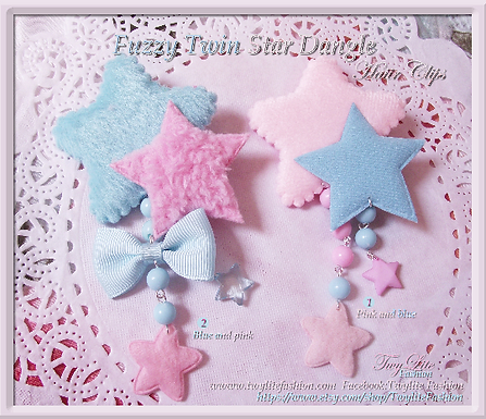 Fuzzy Twin Star Dangle Hair clips