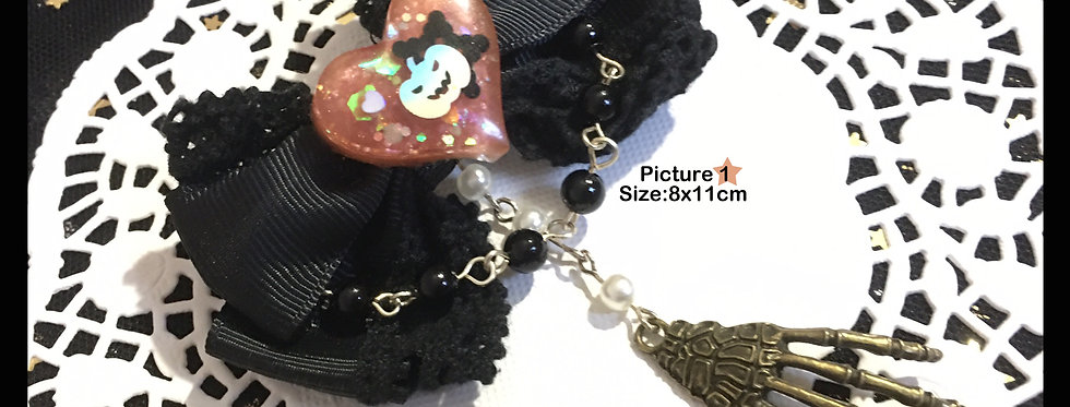 Gothic Lace Skeleton Hand Hair Clip