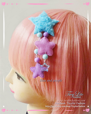 Pastel Fuzzy Shooting Star Dangle Hair clips