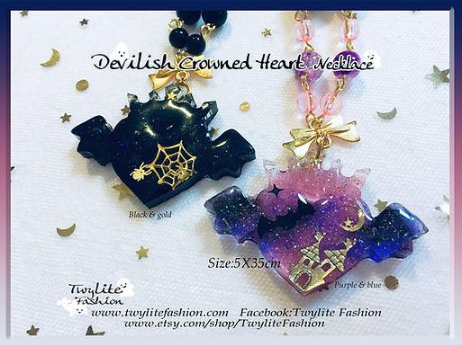 Devilish Crowned Heart Necklace