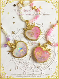 Angelic Flying Gold Crown Heart Frame Necklace-Valentine Collection - Sweet Loli