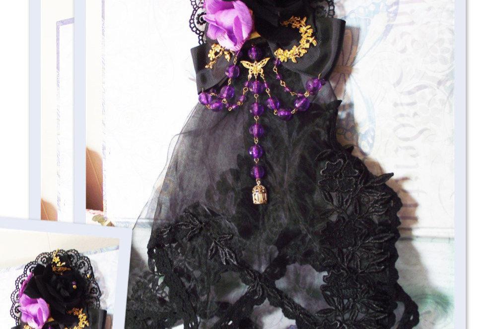 Gothic Lolita Floral Lace Veil - Purple