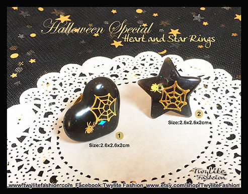 Halloween Special Heart and Star Rings