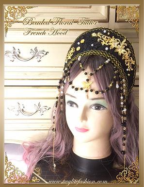 Beaded Floral Tudor French Hood