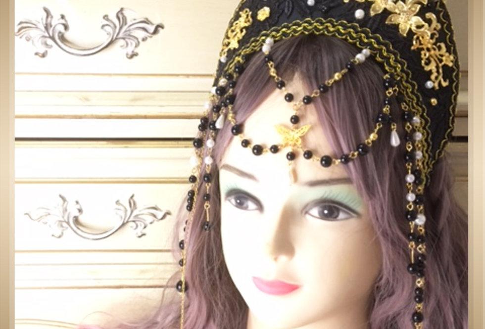Beaded Floral Tudor French Hood-Classic Lolita/Renaissance Style Draft