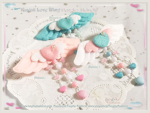Kawaii Love Wing Dangles Hairclip-Sweet Lolita/Kawaii/Harajuku Fashion