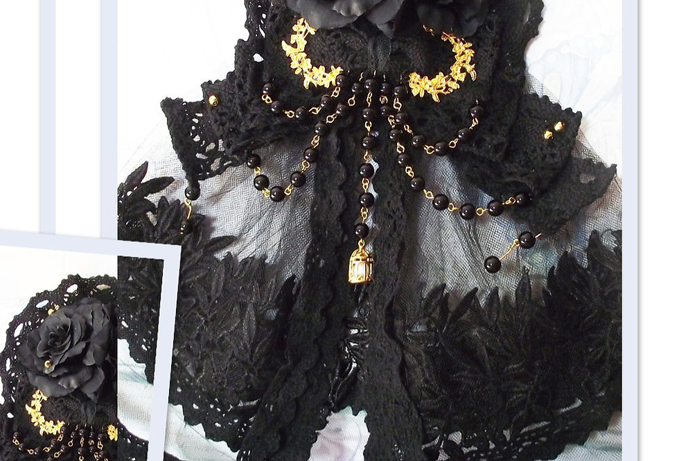 Gothic Lolita Floral Lace Veil & Brooch