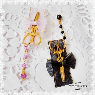 Gold Scissors Ribbon Hairclip