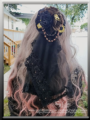 Two-way Black & Brown Lace Veil