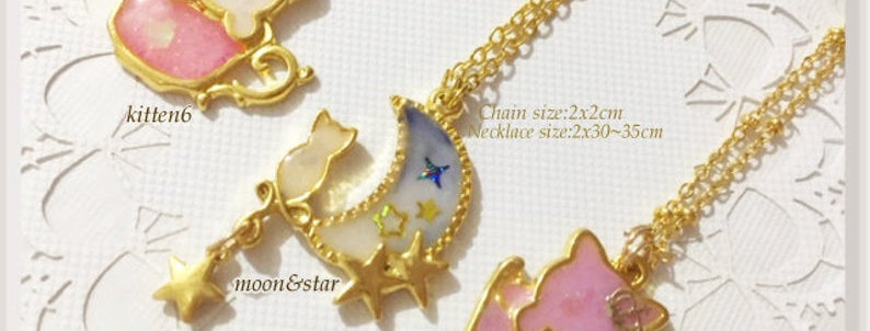 Chibi Teacup & Starry Moon Kitten Necklaces