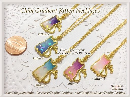 Chibi Gradient Kitten Necklaces