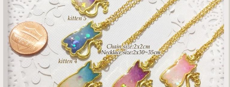 Chibi Gradient Kitten Necklaces