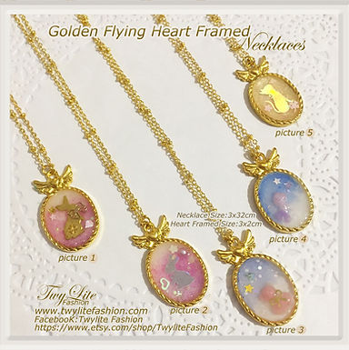 Golden Flying Heart Framed Necklaces