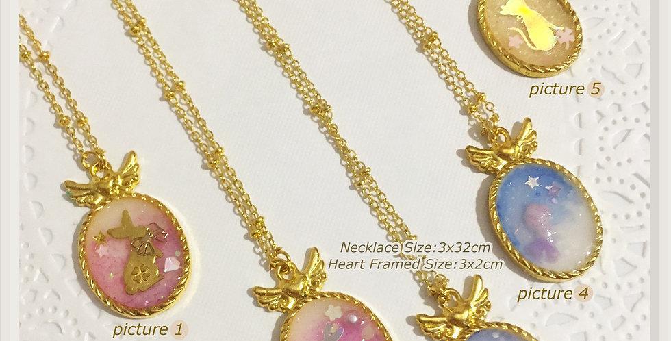 Golden Flying Heart Framed Necklaces