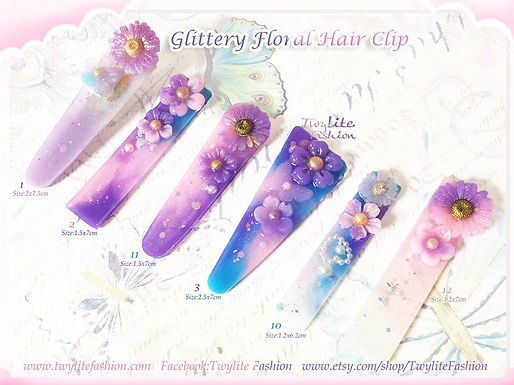Glittery Floral Hair Clip- Resin Accessories
