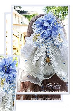 Floral Lace Veil & Brooch