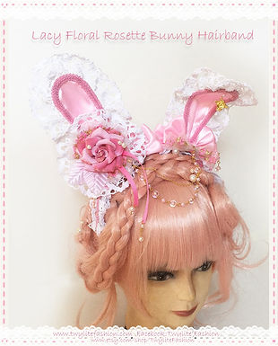 Lacy Floral Rosette Bunny Hairband