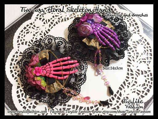 Two-way Floral Skeleton Hand Hair clip & Brooch