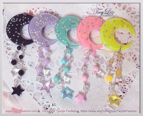 Pastel Moon & Star Dangle Hair clips