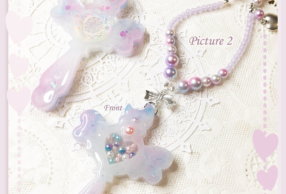 Magical Girl Heart Shaker Wand Necklace