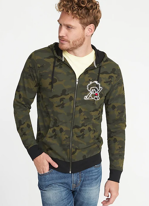 Afroteddy outline lightweight camo hoodie