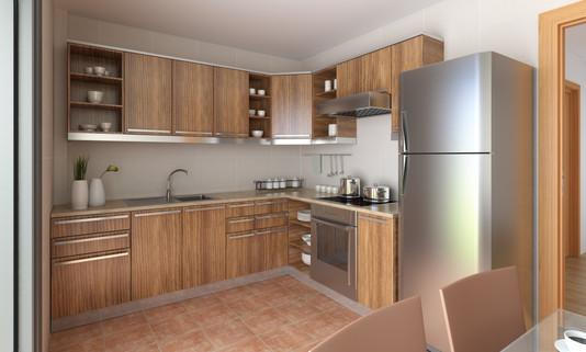 Small textured kitchen