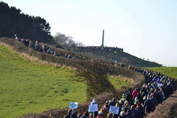 Various groups marched to Tandle Hill Memorial In protest at proposed development