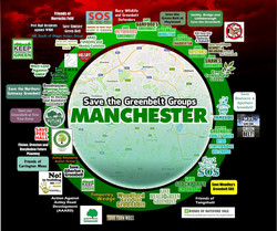 Save Greater Manchester's Greenbelt Poster showing the many member groups